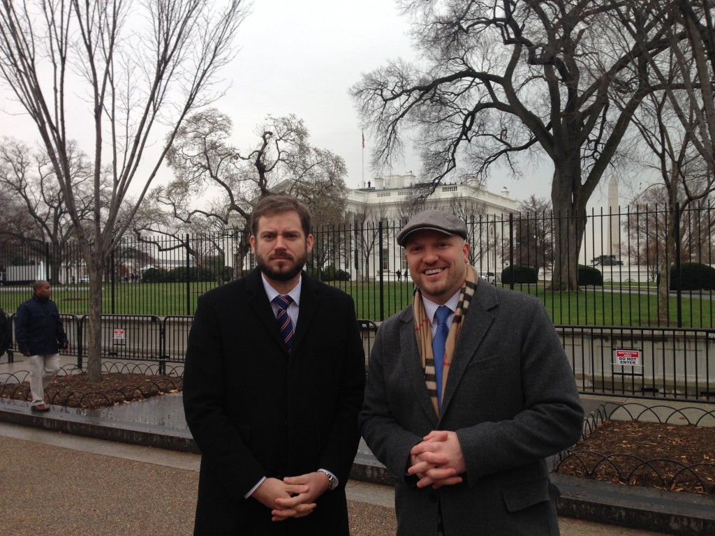 IAVA's Founder and CEO Paul Rieckhoff and Political Director Bill Rausch visit the White House for the President's announcement of new Defense Secretary Ashton Carter.