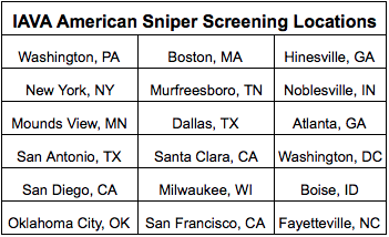 IAVA American Sniper Screening Locations