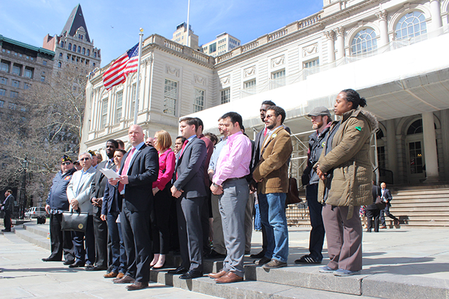Veterans service organizations, advocates and suppporters gather at New York's City Hall to give a voice to the 230,000 veterans of the city and urge Mayor Bill de Blasio to show real support for their community April 16, 2015.