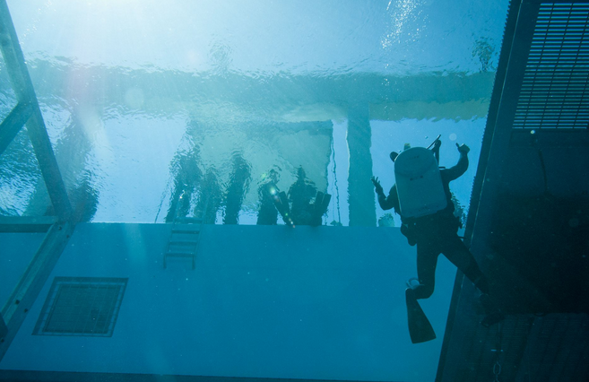 A diver at the Naval Diving and Salvage Training Center returns to the surface of the Aquatic Training Facility during dive demonstration at a Year of the Military Diver event. | Military Times >>