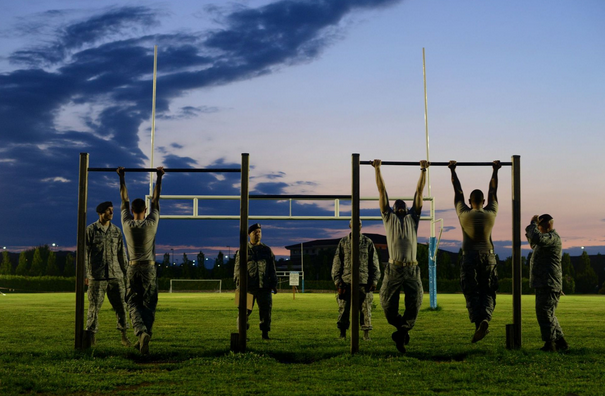 Airmen prepare for chinups during an Army pre-Ranger physical assessment at Aviano Air Base, Italy. | Military Times >>