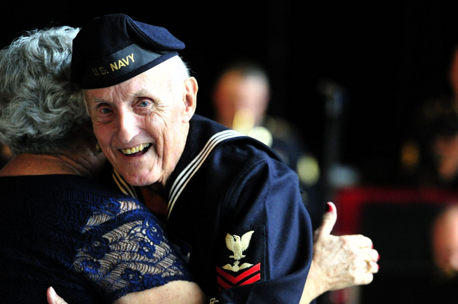 Thomas Foster, a Navy veteran from Huntsville, dances with his wife, Carolyn, as World War II veterans filled the Davidson Center during the the 70th Anniversary of the end of World War II Recognition and Thank You Celebration, at the U.S. Space & Rocket Center in Huntsville, Ala. | Military Times >>