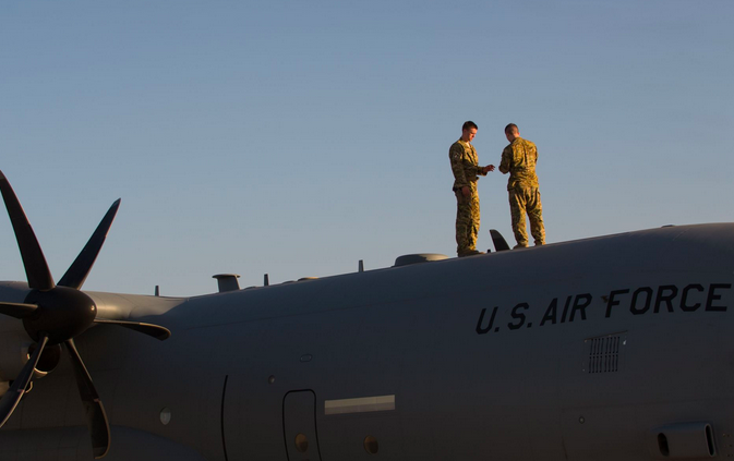 Airmen assigned to the 774th Expeditionary Airlift Squadron complete preflight inspections on a C-130J Super Hercules aircraft at Bagram Airfield, Afghanistan. | Military Times >>