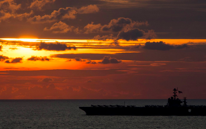 The aircraft carrier George Washington leads a formation during a passing exercise with Japanese Maritime Self-Defense Forces ships on Tuesday. George Washington is preparing to deploy around South America as a part of Southern Seas 2015. | Military Times >>