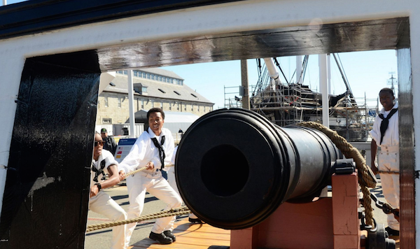 Sailors assigned to USS Constitution perform a War of 1812-era long gun drill in Charlestown Navy Yard as part of Constitution's weekend festivities celebrating the U.S, Navy's 240th birthday. | Military Times >>