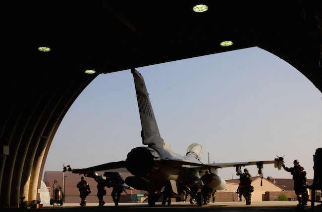 An F-16 Fighting Falcon assigned to the 36th Fighter Squadron is pushed inside a hardened facility by members of the 36th Aircraft Maintenance Unit at Osan Air Base, South Korea. | Military Times >>