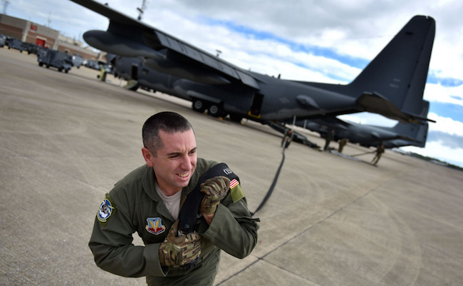 Tech. Sgt. Dave Rosante, an airman with the 102nd Rescue Squadron, 106th Rescue Wing, conducts Forward Area Refueling Point training at the Trent Lott Combat Readiness Training Center during Exercise Southern Strike 16. | Military Times >>