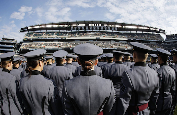 Cadets take the field prior to Saturday's Army-Navy game in Philadelphia. West Point took the field first, but hopes to sing second. | Military Affairs >>