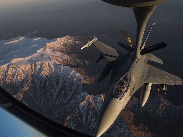 An Air Force KC-135 Stratotanker refuels an F-16 Fighting Falcon over Afghanistan in support of the Resolute Support mission. | Military Times >>