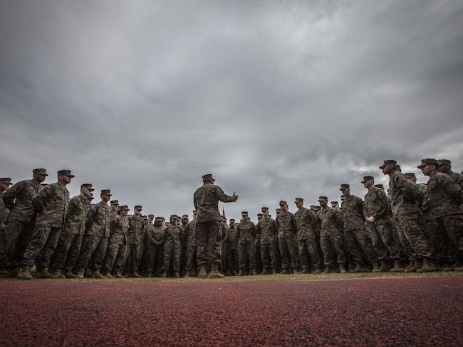 The 18th sergeant major of the Marine Corps, Ronald L. Green, speaks to Marines assigned to Marine Forces Reserve and Marine Forces North aboard Marine Corps Support Facility New Orleans, La.   Military Times >>