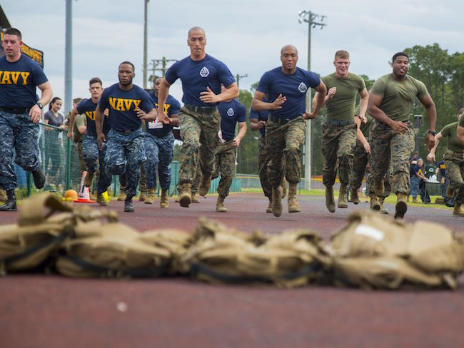 Marines and sailors compete in the first annual Commanding General's Fitness Cup Challenge on Parris Island, S.C., in an effort to promote a healthy lifestyle and lifelong commitment to fitness. Sgt. Jennifer Schubert/Marine Corps | Military Times >>
