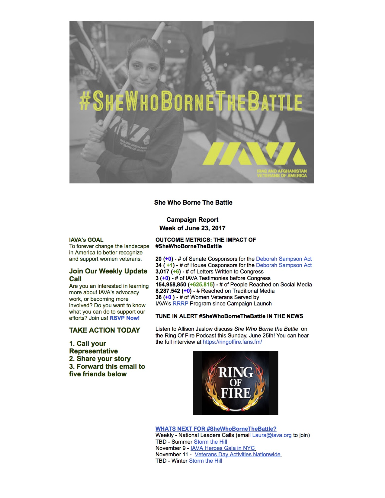 Iraq and Afghanistan Veterans of America Mail - #SheWhoBorneTheBattle Report June 23, 2017