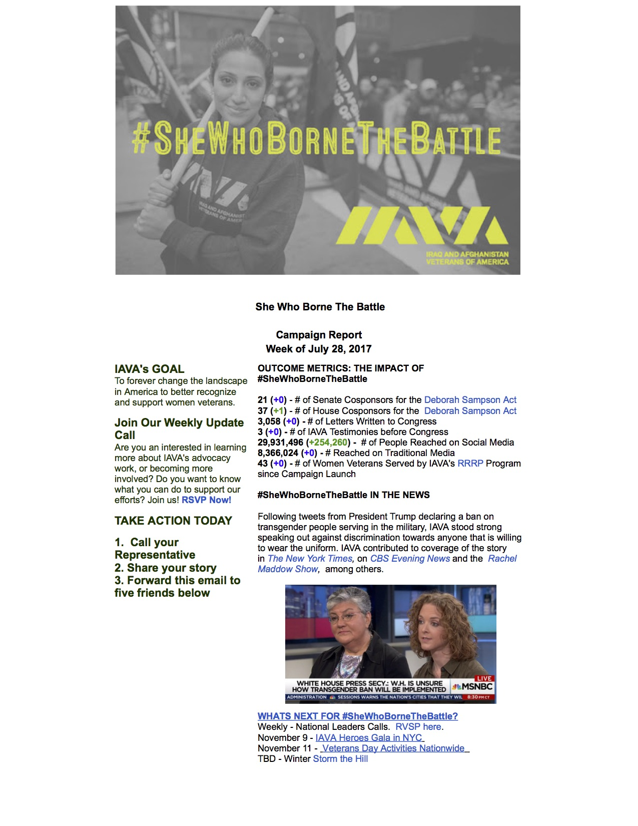 Iraq and Afghanistan Veterans of America Mail - #SheWhoBorneTheBattle Report July 28, 2017
