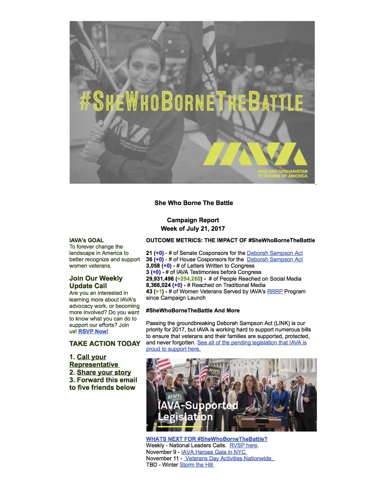 #SheWhoBorneTheBattle Report July 21, 2017 - claireo@iava