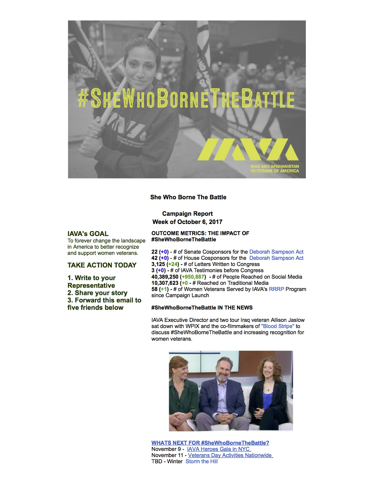 Iraq and Afghanistan Veterans of America Mail - #SheWhoBorneTheBattle Report October 6, 2017