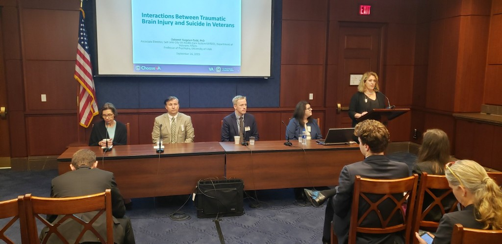 American Pyschological Association Director of Veteran & Military Heath,Heather Kelly provides opening statements during a presentation by VA-funded scientists of cutting edge research on veteran suicide.