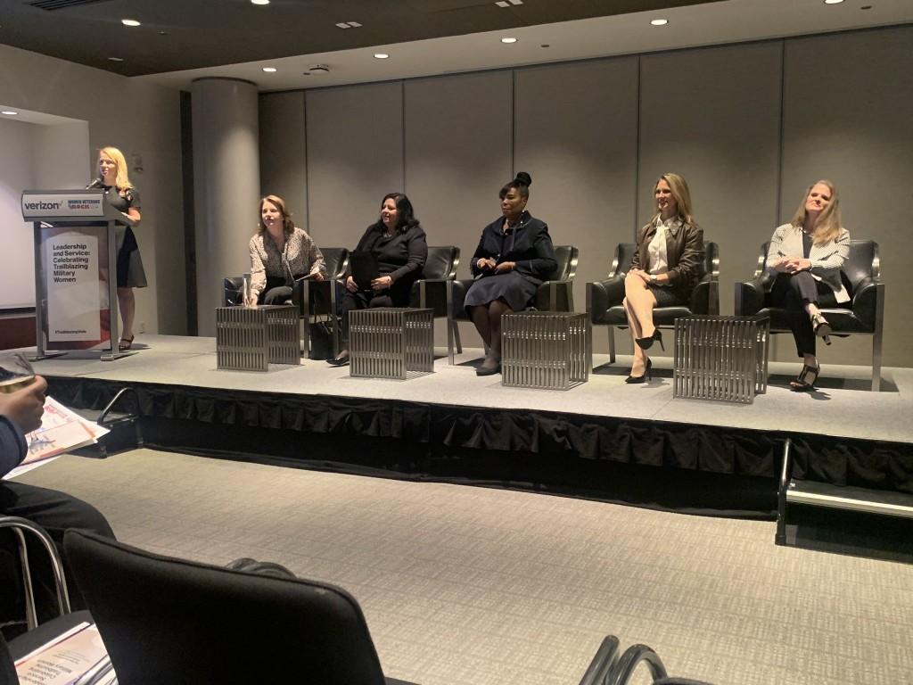 "Panelists Colonel Dawn Alonso, Consuelo Castillo Kickbusch, Heather ""Lucky"" Penney, Deborah Harmon-Pugh and moderator Tami Erwin."