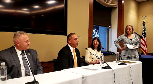 Reps. Riggleman, Cisneros, and Luria at the panel discussion on education benefits moderated by Tanya Ang of VES